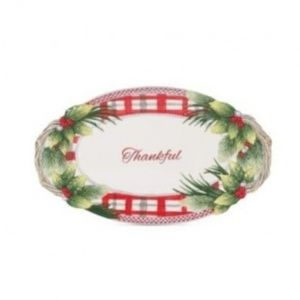 Fitz And Floyd Tartan Christmas Thankful Tray